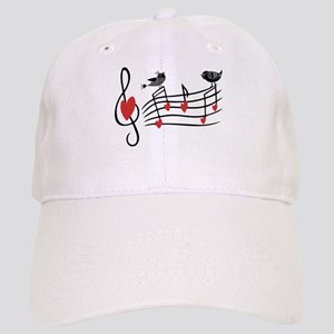 Cute Musical notes and love Birds Baseball Cap