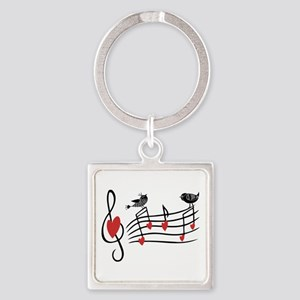 Cute Musical notes and love Birds Keychains
