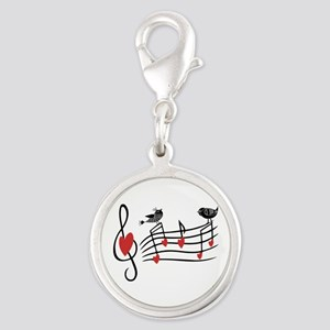 Cute Musical notes and love Birds Charms