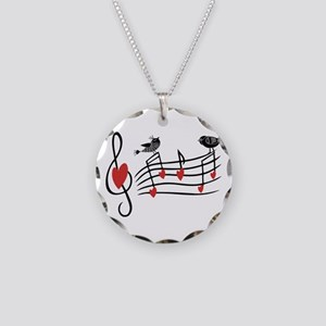 Cute Musical notes and love Birds Necklace