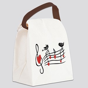 Cute Musical notes and love Birds Canvas Lunch Bag