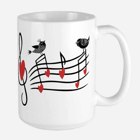 Cute Musical notes and love Birds Mugs