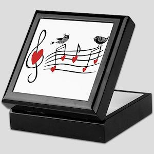 Cute Musical notes and love Birds Keepsake Box