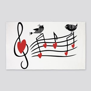 Cute Musical notes and love Birds 3'x5' Area Rug