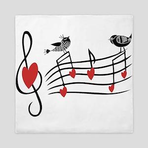 Cute Musical notes and love Birds Queen Duvet