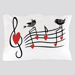 Cute Musical notes and love Birds Pillow Case