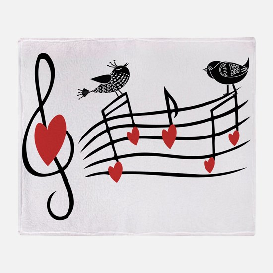 Cute Musical notes and love Birds Throw Blanket