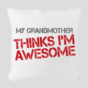 Grandmother Awesome Woven Throw Pillow