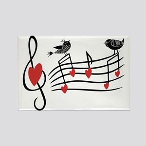 Cute Musical notes and love Birds Magnets