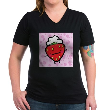 strawberries and cream women's V-neck dark T-shirt