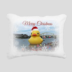 Merry Christmas Duck Rectangular Canvas Pillow