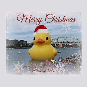 Merry Christmas Duck Throw Blanket