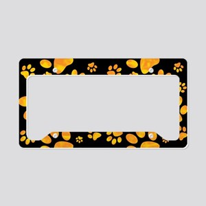 Paw Print Pattern Orange Yellow License Plate Hold