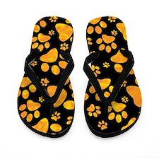Paw Print Pattern Orange Yellow Flip Flops