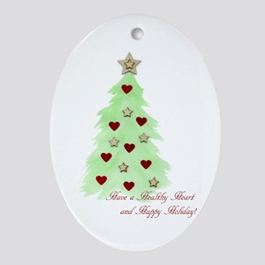 Heart Holiday Card Ornament (Oval)