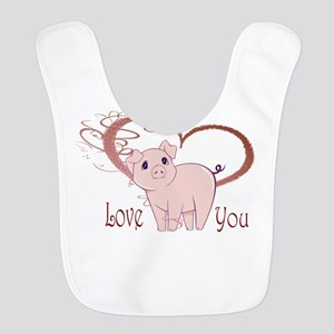 Love You, Cute Piggy Art Bib