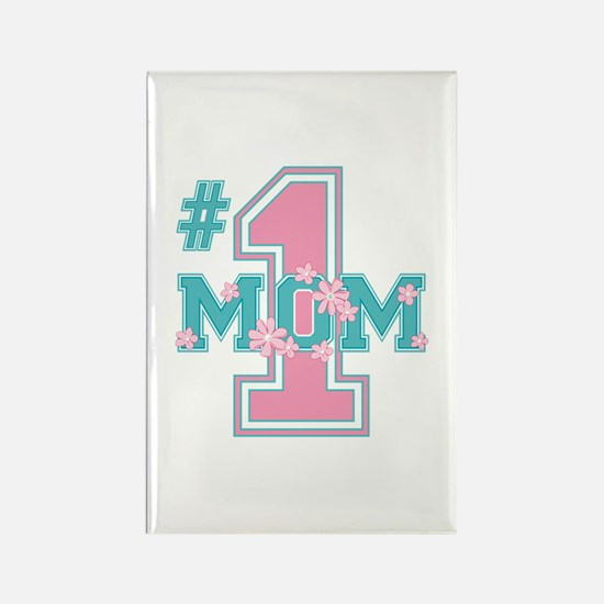 #1 Mom Pink Rectangle Magnet