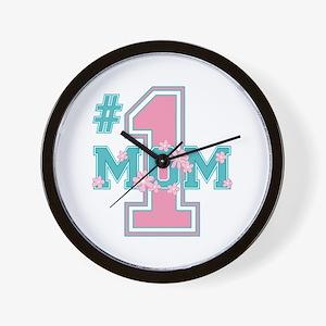 #1 Mom Pink Wall Clock