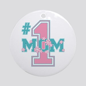 #1 Mom Pink Ornament (Round)