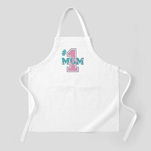 #1 Mom Pink BBQ Apron