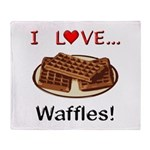 I Love Waffles Throw Blanket