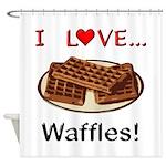 I Love Waffles Shower Curtain