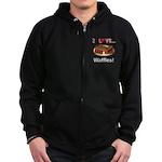 I Love Waffles Zip Hoodie (dark)