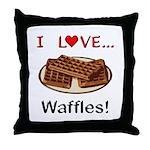I Love Waffles Throw Pillow