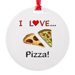 I Love Pizza Round Ornament