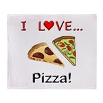 I Love Pizza Throw Blanket