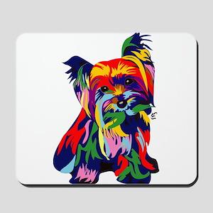 Bright Rainbow Yorkie Mousepad