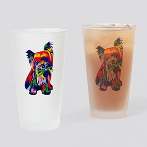 Bright Rainbow Yorkie Drinking Glass