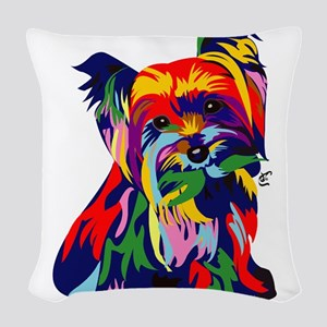 Bright Rainbow Yorkie Woven Throw Pillow