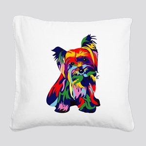 Bright Rainbow Yorkie Square Canvas Pillow