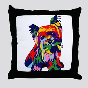 Bright Rainbow Yorkie Throw Pillow
