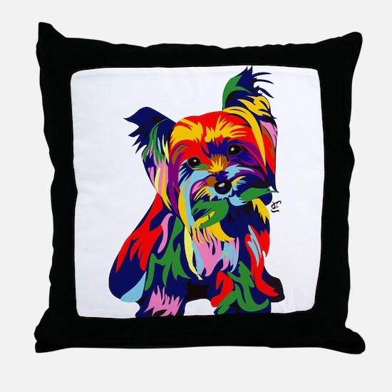 Bright Rainbow Yorkie Throw Pillow