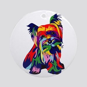 Bright Rainbow Yorkie Ornament (Round)