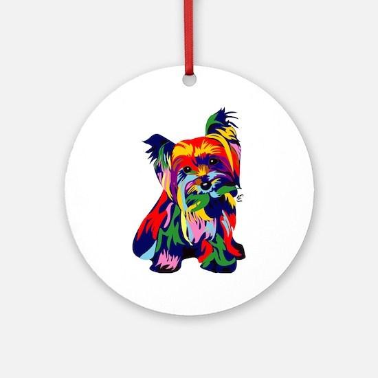 Bright Rainbow Yorkie Ornament (Round)