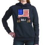 Patriotic USA Pugs Hooded Sweatshirt