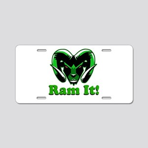 Ram It Green Ram Head Aluminum License Plate