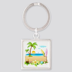 Tropical Surd Square Keychain