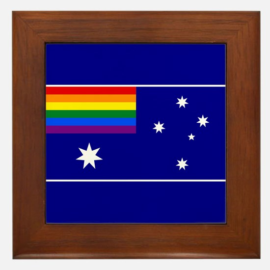 Rainbow Pride Australian Flag Framed Tile