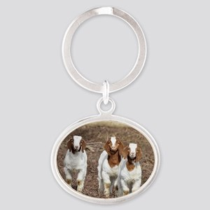 Smiling goats Oval Keychain