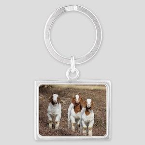 Smiling goats Landscape Keychain