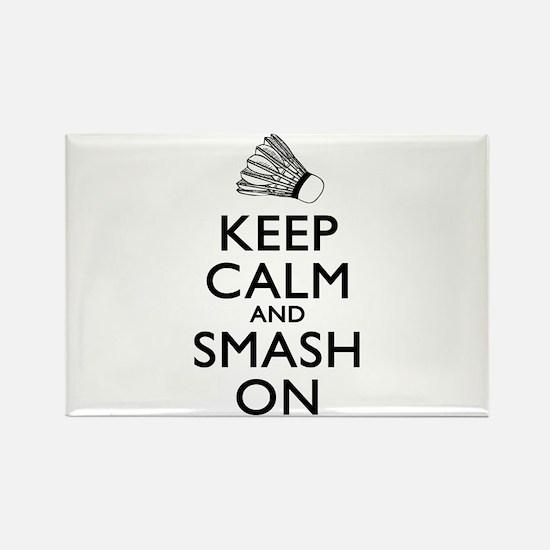 Badminton Keep Calm And Smash On Rectangle Magnet