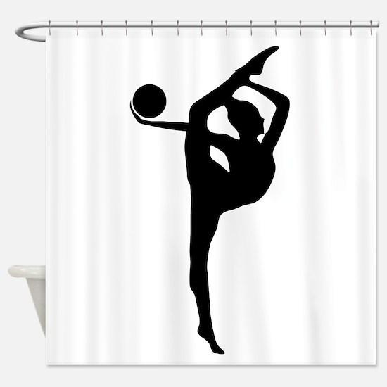 Rhythmic Gymnastics Silhouette Shower Curtain