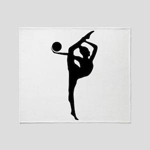 Rhythmic Gymnastics Silhouette Throw Blanket