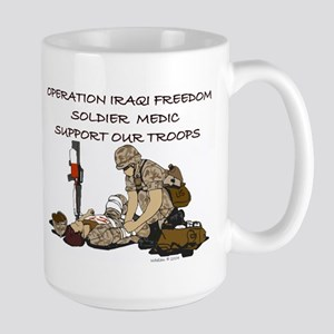 OIF Soldier Medic Support our Troops Large Mug