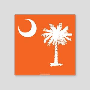 SC Palmetto Moon State Flag Orange Square Sticker