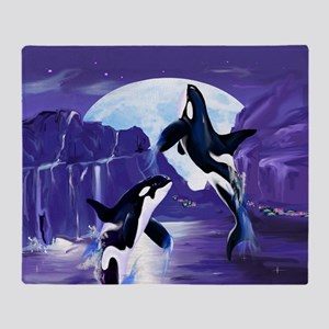 Womens F- Orcas In A Bay Throw Blanket